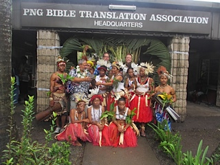 Pacific Wa'a' welcome at PNG Bible Translation Association