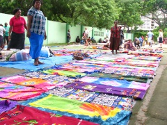 handpainted textiles at Ela Beach Market