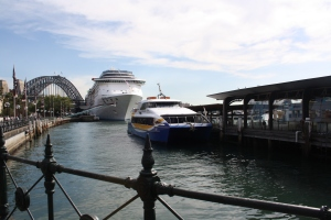 Cruise ships and ferries in the busy quay
