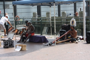 Didgeridoo busker on Circular Quay